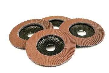 Abrasive disks for grinder isolated on white background
