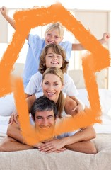 Composite image of loving family having fun