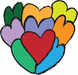 doodle retro heart