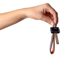Hand holding key with strap isolated on white