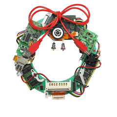 geeky christmas wreath made by old computer parts, no shadow