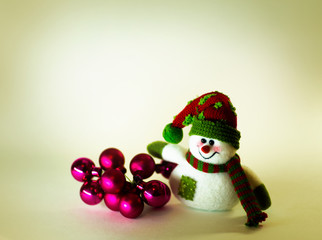 cute snowman with Christmas balls