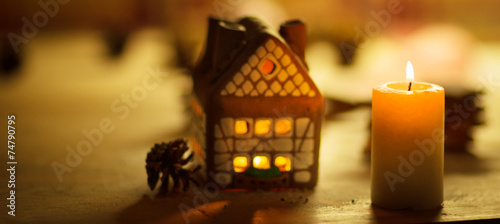 fairy Christmas house cake with candle light i