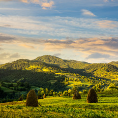 field with haystack on hillside at sunrise