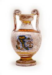 Greek jug with the image of the island of Corfu