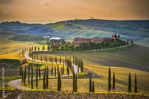 Foto op Canvas Mediterraans Europa Sunny fields in Tuscany, Italy