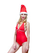 beautiful woman in  red bathing suit and  red cap of Santa Claus
