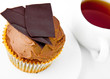Chocolate fruitcake and cup of tea.