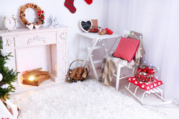 Beautiful Christmas interior in white and red tones