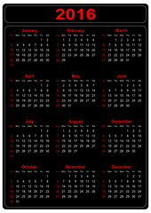 Simple Calendar for the year 2016 on a black background