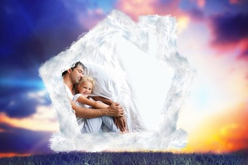 Composite image of father and daughter relaxing on bed