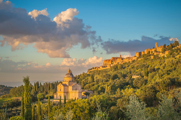 Montepulciano town in Tuscany at sunset, Italy