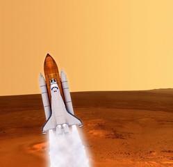 Shuttle Rocket Mars Planet
