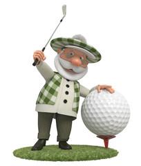 3d little man golfist