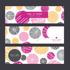 Vector abstract textured bubbles horizontal banners set pattern