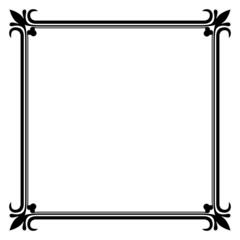 Black and white vintage frame vector template.
