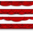 red silk set Pelmet and silk red curtains - 74794990