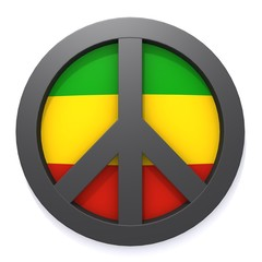 Peace symbol and rastafarian colors 3d illustration
