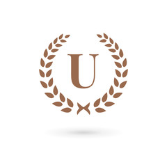 Letter U laurel wreath logo icon design template elements