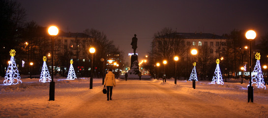 Gorky square decorated light Christmas trees