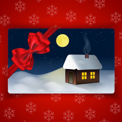 Winter holidays card with Winter landscape