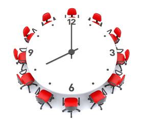 Clock Meeting Table