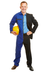Mann halb als Arbeiter und Geschäftsmann