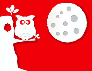 owl and moon in paper effect
