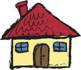 cartoon grunge house isolated on white, icon illustration