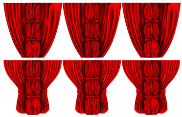silk curtains with columns closed and open