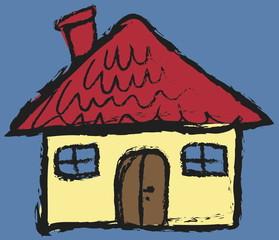 cartoon grunge house,  icon illustration