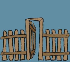 cartoon old grunge wooden gate and fence, design element