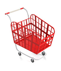 Empty Red Shopping Cart.