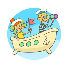sailor boy and girl sit in bath with flag and binoculars