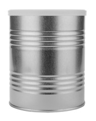 metal tin with a white lid