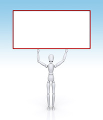 A male mannequin with a blank sign panel