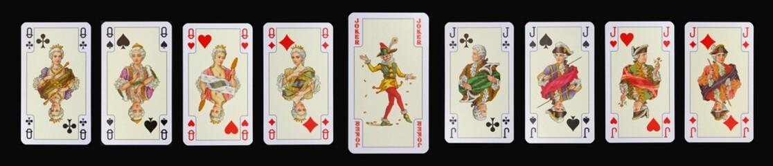 Spielkarten der Ladys - DAMEN - JOKER - BUBEN