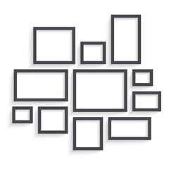 Vector Dark Blank Frames Collection on Wall