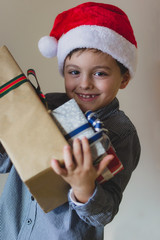 Boy with santa hat, isolated