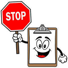 Clipboard Mascot with Stop Sign