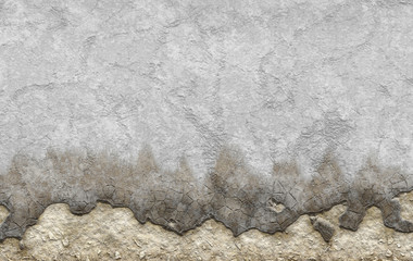 old white dyed plastered crumble texture of aged wall