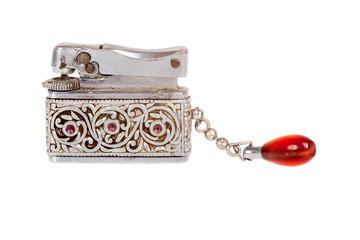 Vintage sliver lighter with red jewel