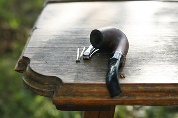 Background with pipe and accessories rural scene