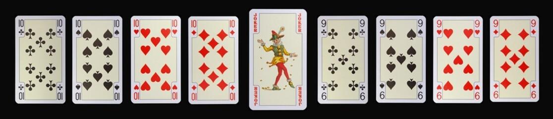 Spielkarten der Ladys - ZEHN - JOKER - NEUN