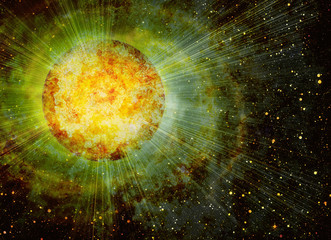 rays beam of planet on space stars backgrounds