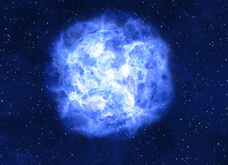 bright blue electrical planet on a dark backgrounds
