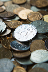 Russian rubles coins close up