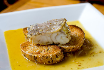 Typical spanish codfish tapa.