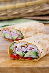 ham and avocado sandwich wrap roll in flavor tortilla