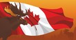 Moose against the flag and nature in Canada - 74799177